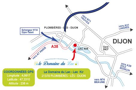 Carte - Plan d'accès pour venir au Domaine du Lac, près de Dijon